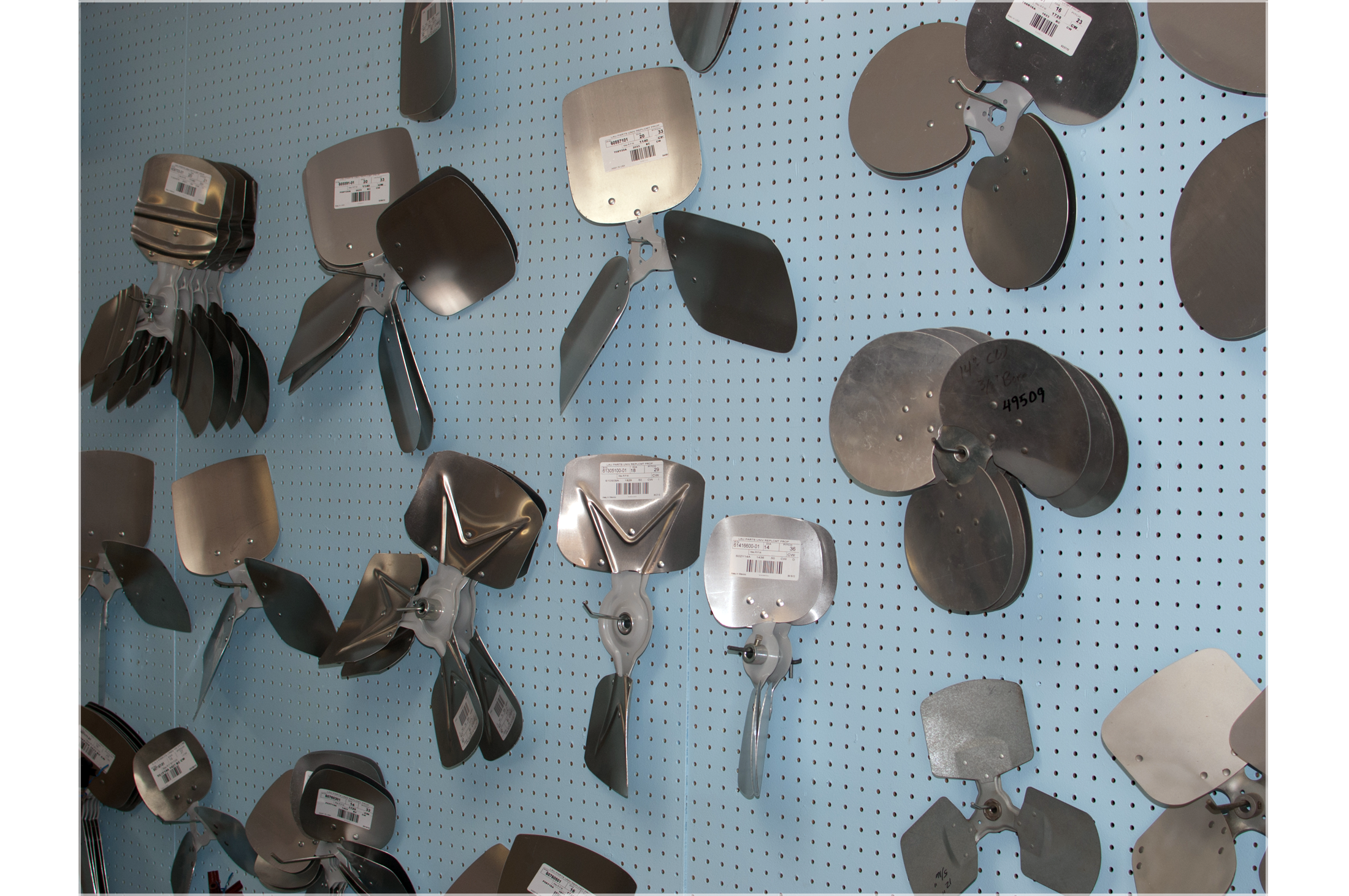 A variety of fan blade sizes and shapes
